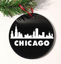 "Holiday Chicago Skyline Christmas Tree Black Ornament 4"" DIA"