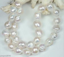 """HUGE NATURAL 12-13MM Australian south seas kasumi white pearl necklace 18"""""""