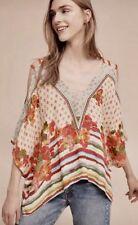 c633d94d53ec7 NEW Anthropologie red coral tan Floral Stripe Cold Shoulder Kaftan Top S/M