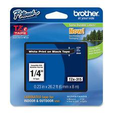 """Brother TZe315 1/4"""" white on black TZe tape PTD200 PT200 PT1090BK PT1280 label"""