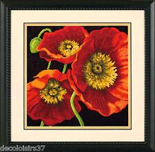 Dimensions 71-20073 Blumen Mohnblumen Rot Satz Stickbild