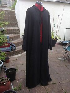 oversized black Crushed Velvet   hooded cloak with sleeves. 148 cm approx