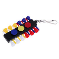 Pocket Golf Tee Holder Tees Shelf & 12 Tees & 3 Ball Markers & Key Chain