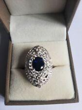 Diamonique by Tova 1.4ct tw Oval Ring Sterling Silver Size L Tanzanite