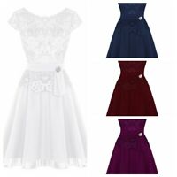 Women's Lace Dress Formal Prom Cocktail Party Ball Gown Evening Bridesmaid Dress