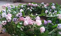Mit Draht Blüten 240cm Türdekoration Geländer Girlande Deko Blumengirlande lila