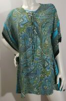 MICHAEL Michael Kors Womens Tunic Top Paisley Green and Blue Plus Size 1X