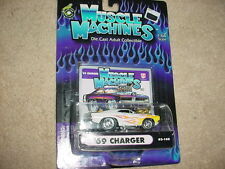 MUSCLE MACHINES '69 CHARGER WHITE WITH FLAMES 02-108 FREE USA SHIPPING