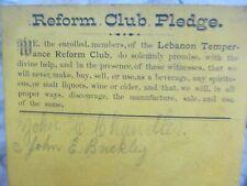 Victorian Liquor Temperence Reform Pledge, 1880, Prohibition, Abstinence, Snow