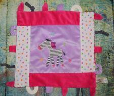 Maison Chic Pink Purple Zebra Lovey Lovie Security Blanket Teether Tags