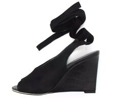 NEXT Womens UK 6 EU 39 Black Suede Leather Wedge Heel Wrap Around Ankle Sandals