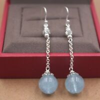 Fine Sterling S925 Silver Earrings Lucky Aquamarine Ball Dangle Earrings