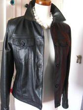 Ladies M&S black leather short fitted JACKET COAT SHIRT denim type size UK 12 10