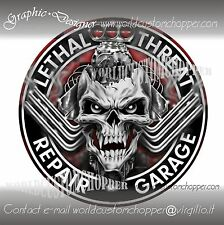 1 ADESIVO STICKERS DECALCOMANIA SKULL REPAIR GARAGE MOTO CUSTOM HARLEY DAVIDSON