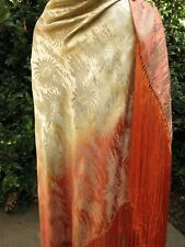 OMBRE Art Deco c1920 FRENCH SILK & LAMÉ Shawl XL Antique Fringed STUNNING