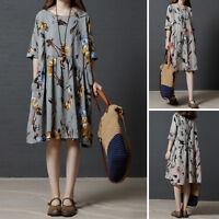 2018 Vintage Plus Size Linen Dress Short Sleeve Loose Casual Tunic Floral Dress