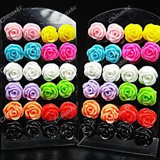 Fashion 24pcs Stainless steel Rose Flower Womens Stud Earrings + Display Pad New