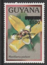 Guyana 6579 - 1990 ? Orchids opt'd JOHN F KENNEDY $500 on $12.80  unmounted mint