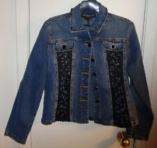 XS NWOT Womens My Favorite Things Colleen Lopez Jean Jacket Blue Beads Lace