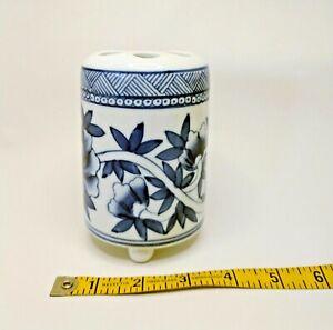 Blue & White Porcelain Toothbrush Holder Ball Feet Floral Design