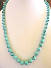 Vintage Chinese Natural Turquoise Bead Strand Necklace Sterling Silver 925 Clasp