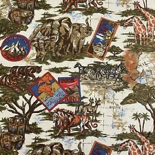 African Animals Safari Linen-like Fabric Vintage Hamil Textiles 2 Yards