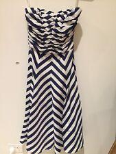 Basque Striped Blue & White Sleeveless Dress Size 6