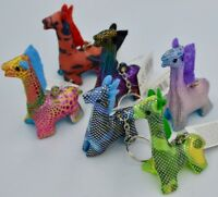 NEW SAND CRITTER BEANIE TOY GIRAFFE KEYRING KEY RING COLOURFUL BRIGHT PUCK