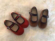 Girl's Velvet Mary Jane Shoes/ Flat/ Size 7/Red+navy/