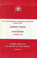 More details for london welshvgloucester - rfu cup quarter final 4 mar 1972 rugby programme
