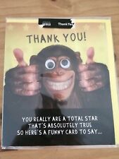 Funny googly eye Monkey card and envelope greeting card thank you