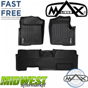 MaxLiner All Weather Floor Mats Set Black Fits 2011-2014 Ford F-150 SuperCab