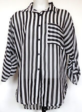Rue 21 Black/White Striped Sheer Button-Front 3/4 Sleeve Button-Tab Shirt M