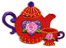 Red Hat Society - Embroidered Tea Pot & Tea Cup - Iron On Applique Patch