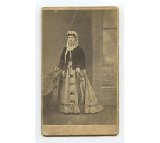 CDV PORTRAIT OF LADY FROM STRATFORD IN UNUSUAL HAT/BONNET AND LONG DRESS W/ BOWS