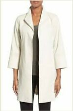 Eileen Fisher Bone Polished Ramie Stretch High Collar Open Front Jacket Coat New
