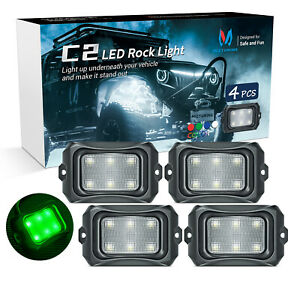 MICTUNING C2 LED Rock Light Pure Green 4 Pods IP68 Underbody Glow Off Road Lamp