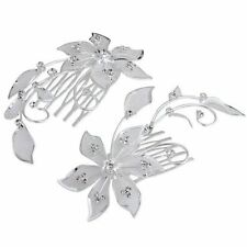 2 Silver Plated Flower Rhinestone Crystal Wedding Hair Comb Pin Tiara T1