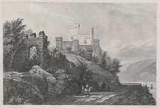 BURG RHEINSTEIN  STAHLSTICH 1842 RHEIN CHÂTEAU CASTLE VOITSBERG VAITZBURG