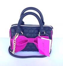 Betsey Johnson big pink glitter bow mini barrel crossbody handbag purse New!