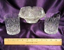 """VTG """"MAD MEN"""" HOLLYWOOD REGENCY CUT CRYSTAL 2 WHISKEY GLASSES & ASHTRAY SET"""