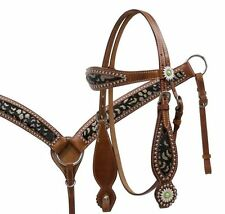 Western Saddle Horse Bling! Leather Tack Set Bridle Headstall + Breast Collar