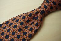 Stefano Ricci Carrot Orange Navy Blue Geomtric Honeycomb Silk Tie Made Italy
