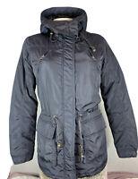 MAISON SCOTCH Parka Winterjacke Kurzmantel Blau Kapuze Taschen Gr 3 / L Gefütter