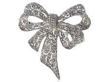 Captivating Clear Crystal Rhinestone Silver Tone Christmas Ribbon Bow Pin Brooch