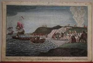 PATAGONIAN NATIVES ARGENTINA & CHILE 1786 HOGG ANTIQUE COPPER ENGRAVED VIEW