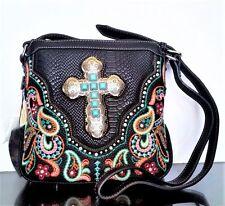 Montana West Turquoise Cross Crossbody Bag Embroidery Designer Western Purse