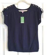 NWT LILLY PULITZER DEVIN SWEATER TRUE NAVY DOCKSIDE CABLE KNIT SWEATER MED $138