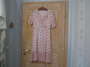 Kleid Sommer weiß Polka Dots Volant romantisch Lolita Gürtel gefüttert Gr.38