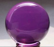 Asian Rare Purple Magic Glass Crystal Healing Ball Sphere 40mm+Stand